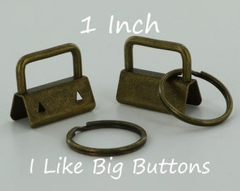 10 Sets - ANTIQUE BRASS - 1 INCH (25 mm) Key Fob Hardware with Rings Wristlet/Key Chains