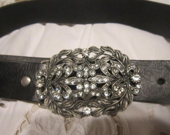 Black Leather Belt with Silver type Diamonte Design Buckle