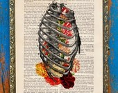 Growing Inside Victorian Spine Original Collage Print on an Unframed Upcycled Bookpage