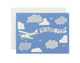 You're Fly Airplane Friendship or Love Laser Cut Card