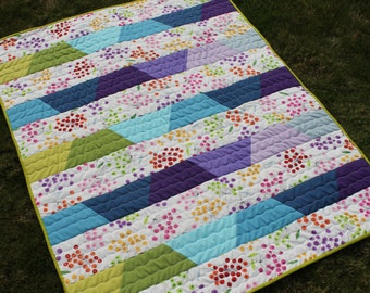 Colorful Baby Quilt, Adorable Modern Infant Blanket featuring Bold Bright Colors