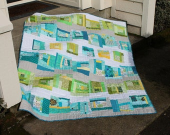 Turquoise and Lime Lap Quilt