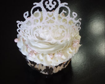 6 Edible Princess Crown/ Tiara Cupcake Toppers