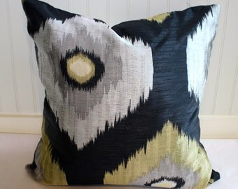 Modern, Geometric Pillow Covers / Silver Grey, Black and Gold / 21 x 21 / Designer Fabric / Handmade Home Decor Accent Pillow