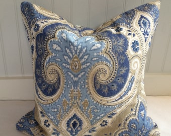 Kravet Blue and Tan Paisley Damask Pillow Covers in Latika Fabric