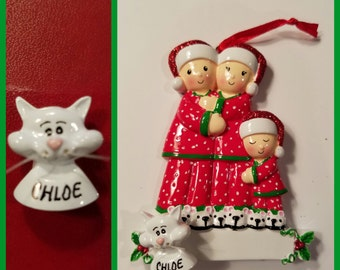 Personalized White Cat ADD ON To Any Ornament