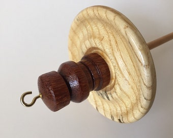Handmade High Whorl Sycamore and Amargo Drop Spindle. Hand Turned 3.2 oz.