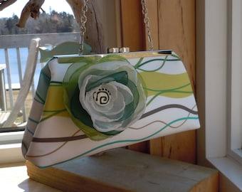 Green, Blue, Brown Wavy Patterned Wedding Clutch, Bridal Clutch, Mother of the Bride Clutch, Beach Themed Wedding
