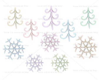 Christmas trees and snowflakes,  value set, digital graphic instant download clipart scrapbooking crafts pearl glitter frosting glaze