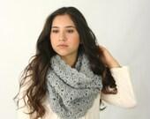Cowl Scarf Women's Crochet Snood Scarf / THE KENSINGTON / Silver Heather