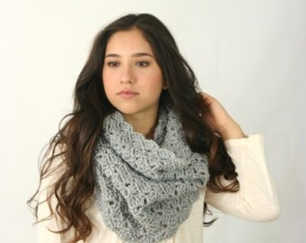 Cowl Scarf Women's Crochet Snood Scarf / THE KENSINGTON / Silver Heather