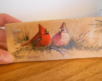 Vintage bird wall art.   Sparrow, small bird.  Signed art.