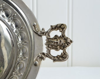 Footed nickel bowl, vintage Swedish centerpiece, home decor, cottage chic