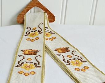 Tray holder, vintage Swedish embroidery , kitchen decor, tray storage, teak and linen