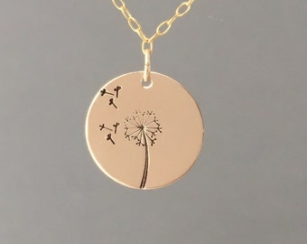 Gold Dandelion Circle Disc or Rectangle Necklace also in Rose Gold and Sterling Silver