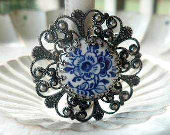 Vintage Porcelain Silver Filigree Brooch - Ceramic Flower Pin - Delft Style