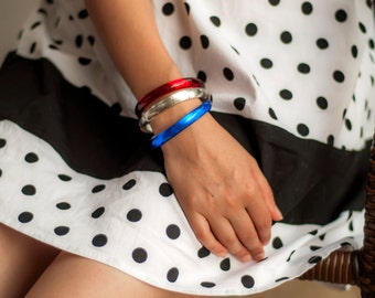 SALE 15% OFF / Free Shipping / Thin bangles set, resin bracelets, silver flakes, minimal design, Red, White and Blue bangles
