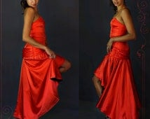 Stunning vintage red satin tango gown / incredible hi lo hem strapless bodice dress / burlesque costume / incredible one of a kind