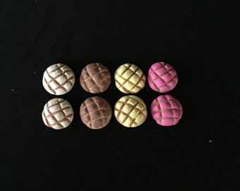 Set of 8 Polymer Clay Painted Mixed Colors Concha Pan Dulce