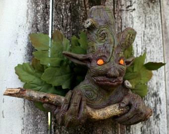 Branch-Man, OOAK Fantasy LED Wall Sculpture (Orange Eyes)