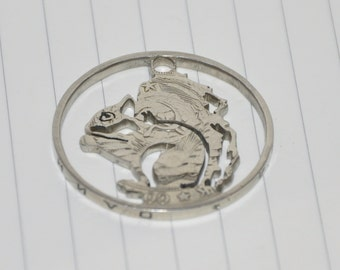 Squirrel . Coin cut charm. All handmade USSR rouble coin