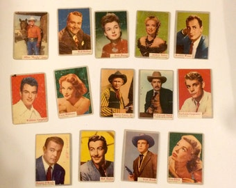 1953 Topps Who Z At Star Movie Star Trading Cards Set of 14 Vintage Trading Cards of Hollywood Film Stars