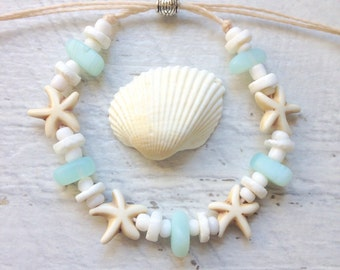 cultured sea glass bracelet, starfish shell bracelet, beachcomber beach jewelry