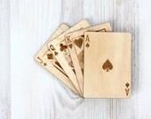 Wood playing card - Engraved Laser Cut - Custom Playing card - Souvenir Playing Cards