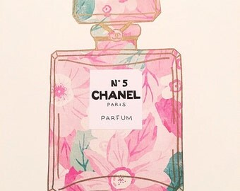 Floral Chanel Bottle Art | Stationary | Wall Art | Wall Decor | Chanel Art