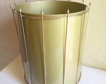 Vintage Mid-Century Modern Gold Metal Trash Can  - Very clean