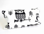 Cotton Clutch - Funny Owls Branches Arrows - Black on White. Small Bag Purse. Zipper Pouch