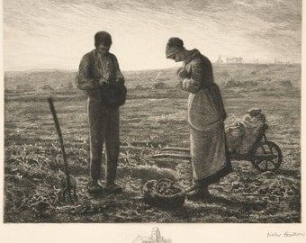 Jean-Francois Millet Reproductions - The Angelus (L'Angelus), c. 1850. Fine Art Reproduction.
