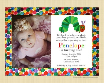 The Very Hungry Caterpillar - Photo Birthday Invitation - Digital or printed