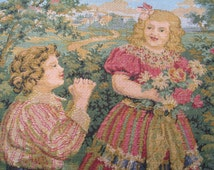 French Tapestry Panel Features a Girl and Boy in Pastoral Scene Small Piece is Made in France Use for Pillow Front or Frame It
