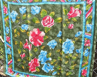 Nicole de Beauvoir PARIS Signed Silk Damask Scarf With Tag A Fine Rolled Hem 33 Inch Square