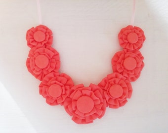 Statement Necklace with Coral Colored Fabric Blooms and Fabric Covered Button Centers