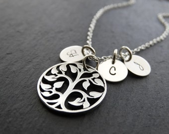 Family Tree Necklace, Personalized Jewelry  Gifts for Mom Gift Initial Necklace Tree of life necklace Sterling silver Necklace