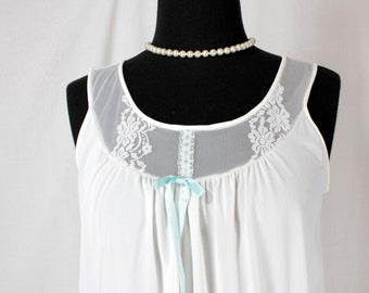 Vintage Miss Elaine Nightgown Nylon White Nightie
