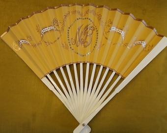 Custom 18th century / Regency style initial fan made to order