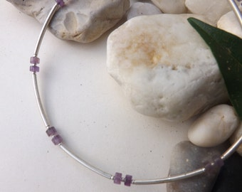 Amethyst and 925 Sterling silver necklace, Amethyst and silver choker,