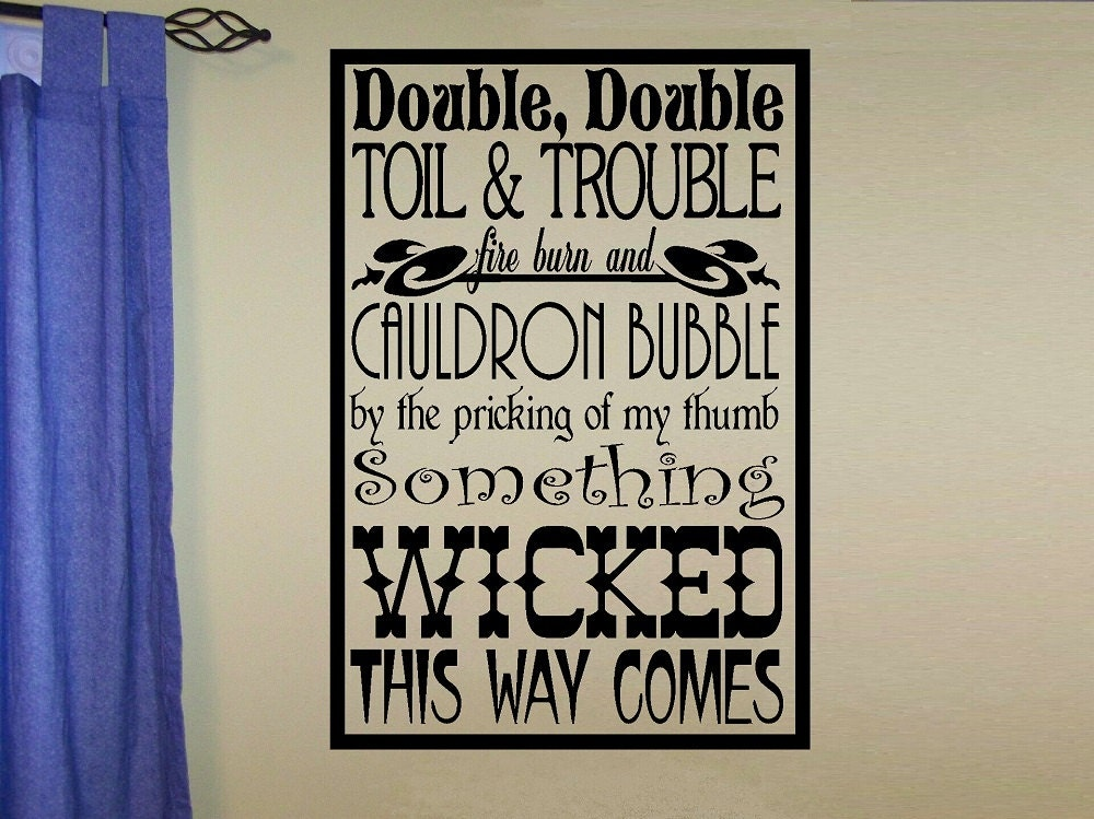 Double The Trouble Quotes: Wall Decal Halloween Witch Double Double Toil Trouble Fire