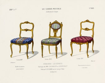 Original Interior Design Print of Chairs by Guilmard Paris c1866. French Antique Hand colored Lithograph of Louis XIV and Louis XVI Seats.