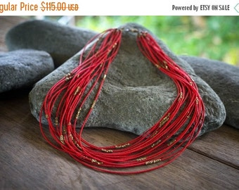 ON SALE Red seed  beads necklace, African beaded necklace, Statement necklace