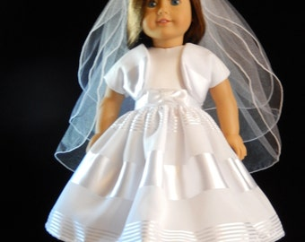 Sleeveless First Communion, Wedding, or Flower Girl Dress with Shrug for American Girl and 18 Inch Doll