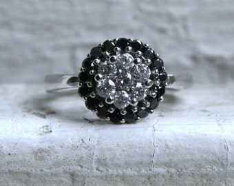 Vintage 14K White Gold Diamond and Black Diamond Cluster Ring Engagement Ring - 1.00ct