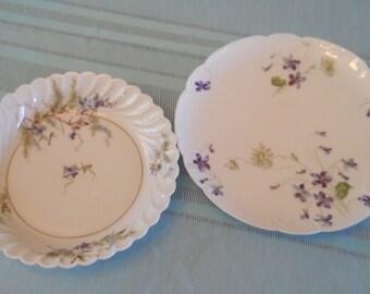 Vintage Haviland France China Bowl and Plate, Blue and Violet Floral French Haviland Limoges