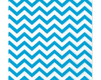 100 Blue Chevron Paper Bags, 6 x 9 inches with Chevron Stripes on White Paper - Flat Merchandise Bags