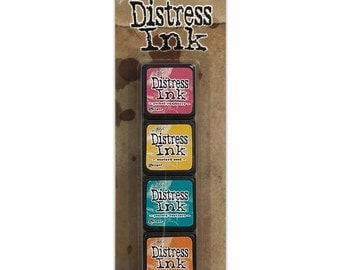 Tim Holtz Mini Distress Ink Pad Kit #1 - Includes the Colors: Picked Raspberry, Mustard Seed, Peacock Feathers & Spiced Marmalade