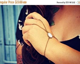 FALL SALE pearl slave bracelet, pearl hand chain, bracelet ring, ring bracelet, boho bracelet,  hipster bracelet, slave ring