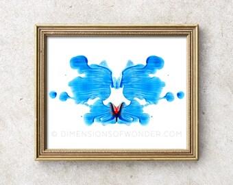 Rorschach PRINT, Rorschach ink blot, Rorschach art, psychology art, psychologist gift, psychology student, psychology poster, blue, red.